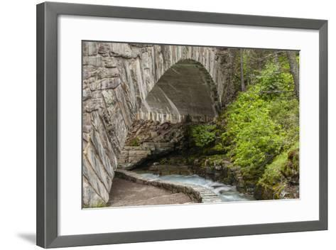 Ccc Bridge over Barring Creek, Sun Rift Gorge Pullout, Glacier NP-Michael Qualls-Framed Art Print