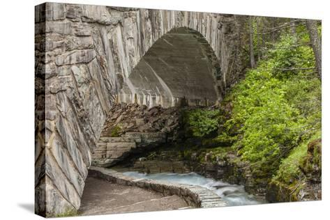 Ccc Bridge over Barring Creek, Sun Rift Gorge Pullout, Glacier NP-Michael Qualls-Stretched Canvas Print
