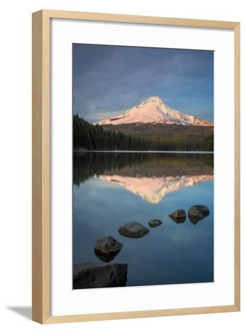 Sunset on Mount Hood from Trillium Lake, Cascade Mountains, Oregon-Brian Jannsen-Framed Art Print