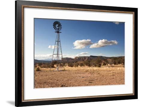 Windmill in New Mexico Landscape-Sheila Haddad-Framed Art Print