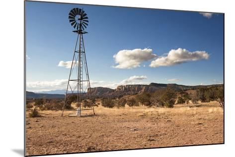 Windmill in New Mexico Landscape-Sheila Haddad-Mounted Photographic Print