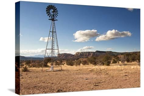 Windmill in New Mexico Landscape-Sheila Haddad-Stretched Canvas Print
