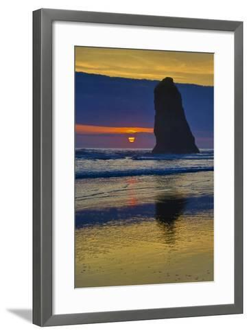 USA, Oregon, Cannon Beach. Sunset on Lone Seastack-Jean Carter-Framed Art Print