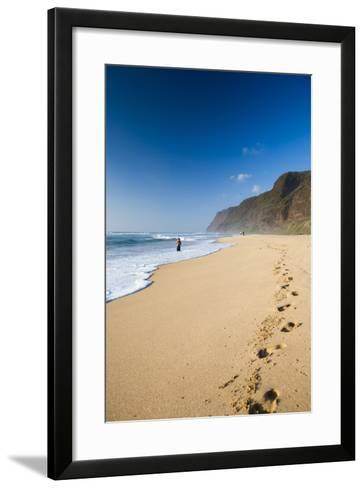 The Long Stretches of Beach, Polihale State Beach Park, Kauai, Hawaii-Micah Wright-Framed Art Print
