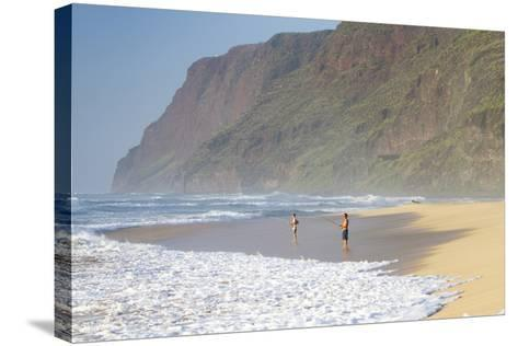 Fishermen Enjoy the Beach, Polihale State Beach Park, Kauai, Hawaii-Micah Wright-Stretched Canvas Print