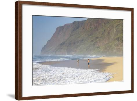 Fishermen Enjoy the Beach, Polihale State Beach Park, Kauai, Hawaii-Micah Wright-Framed Art Print