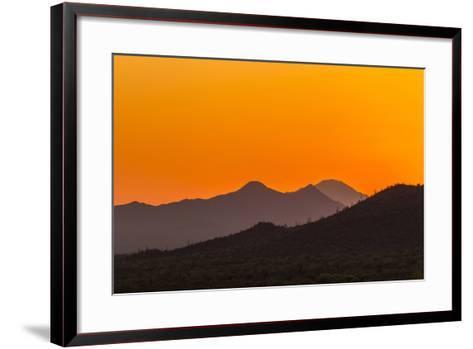 USA, Arizona, Saguaro National Park. Tucson Mountains at Sunset-Cathy & Gordon Illg-Framed Art Print