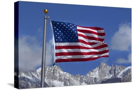 American Flag and Snow on Sierra Nevada Mountains, California, USA-David Wall-Stretched Canvas Print