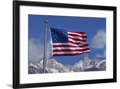 American Flag and Snow on Sierra Nevada Mountains, California, USA-David Wall-Framed Art Print