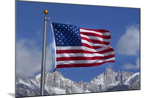 American Flag and Snow on Sierra Nevada Mountains, California, USA-David Wall-Mounted Photographic Print
