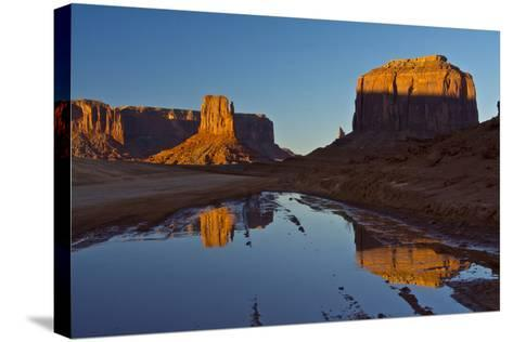 Sunset, Reflections, Buttes, Monument Valley, Arizona-Michel Hersen-Stretched Canvas Print