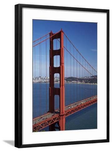California, Traffic on Golden Gate Bridge, and San Francisco Bay-David Wall-Framed Art Print