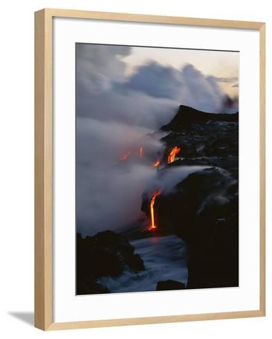 Hawaii Islands, Kilauea, Lava into Ocean-Douglas Peebles-Framed Art Print