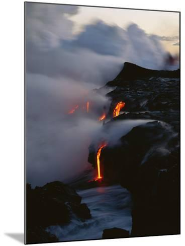 Hawaii Islands, Kilauea, Lava into Ocean-Douglas Peebles-Mounted Photographic Print