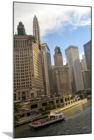 A Boat and Buildings Along the Chicago River, Chicago, Illinois, USA-Susan Pease-Mounted Photographic Print