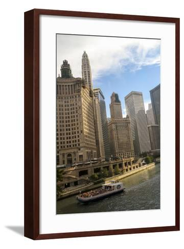 A Boat and Buildings Along the Chicago River, Chicago, Illinois, USA-Susan Pease-Framed Art Print