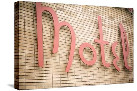 Close Up of a Motel Sign, Pontiac, Illinois, USA. Route 66-Julien McRoberts-Stretched Canvas Print