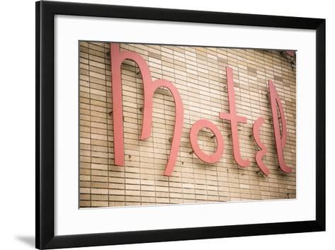 Close Up of a Motel Sign, Pontiac, Illinois, USA. Route 66-Julien McRoberts-Framed Art Print