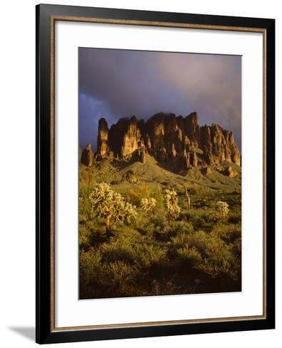 The Superstition Mountains in Lost Dutchman State Park, Arizona-Greg Probst-Framed Art Print