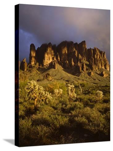 The Superstition Mountains in Lost Dutchman State Park, Arizona-Greg Probst-Stretched Canvas Print