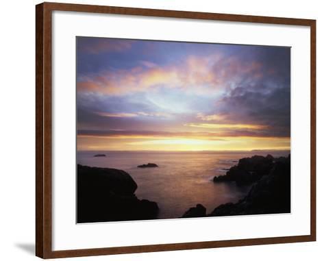 USA, California, San Diego, Sunset over Rocks on the Pacific Ocean-Christopher Talbot Frank-Framed Art Print