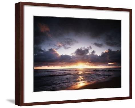 California, San Diego, Sunset over a Beach and Waves on the Ocean-Christopher Talbot Frank-Framed Art Print