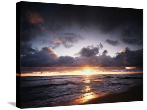 California, San Diego, Sunset over a Beach and Waves on the Ocean-Christopher Talbot Frank-Stretched Canvas Print