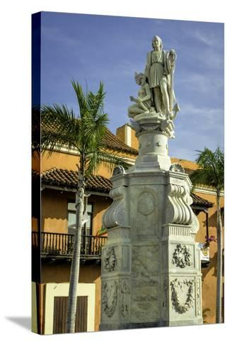 Statue of Christopher Columbus, Old City, Cartagena, Colombia-Jerry Ginsberg-Stretched Canvas Print