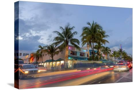 Dusk Light on Ocean Drive in South Beach in Miami Beach, Florida, USA-Chuck Haney-Stretched Canvas Print