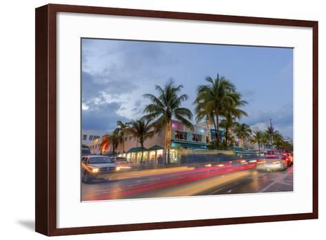 Dusk Light on Ocean Drive in South Beach in Miami Beach, Florida, USA-Chuck Haney-Framed Art Print