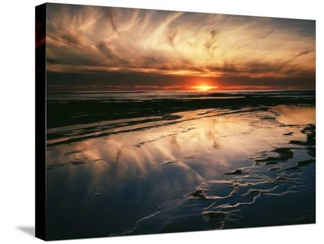 California, San Diego, Sunset Cliffs, Sunset Reflecting in Tide Pools-Christopher Talbot Frank-Stretched Canvas Print