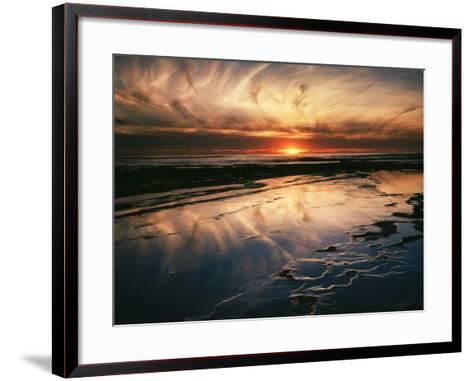 California, San Diego, Sunset Cliffs, Sunset Reflecting in Tide Pools-Christopher Talbot Frank-Framed Art Print
