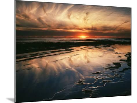 California, San Diego, Sunset Cliffs, Sunset Reflecting in Tide Pools-Christopher Talbot Frank-Mounted Photographic Print