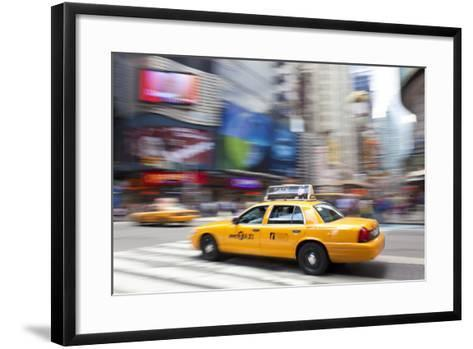 Yellow Taxi Cabs, Just Off Times Square, Manhattan, New York-Peter Adams-Framed Art Print
