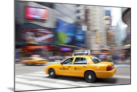Yellow Taxi Cabs, Just Off Times Square, Manhattan, New York-Peter Adams-Mounted Photographic Print