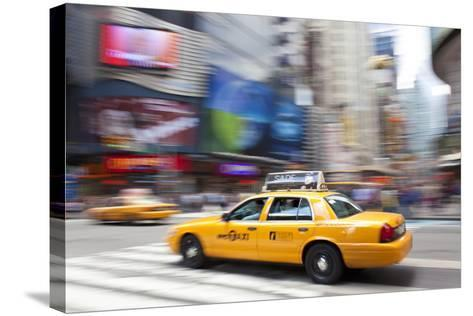 Yellow Taxi Cabs, Just Off Times Square, Manhattan, New York-Peter Adams-Stretched Canvas Print