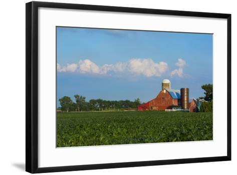 Farm with Red Barn and Corn, Milford Center, Ohio-Bill Bachmann-Framed Art Print