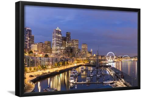 USA, Washington, Seattle. Night Time Skyline from Pier 66-Brent Bergherm-Framed Art Print