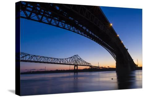 Bridges over the Mississippi River at Dawn in St. Louis, Missouri-Jerry & Marcy Monkman-Stretched Canvas Print