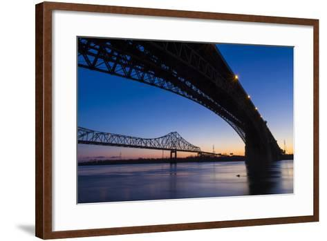 Bridges over the Mississippi River at Dawn in St. Louis, Missouri-Jerry & Marcy Monkman-Framed Art Print