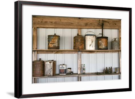 Display of Antique Buckets and Bottles, Cuba. Missouri, USA. Route 66-Julien McRoberts-Framed Art Print