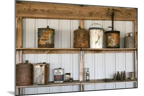 Display of Antique Buckets and Bottles, Cuba. Missouri, USA. Route 66-Julien McRoberts-Mounted Photographic Print