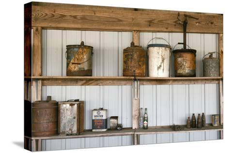 Display of Antique Buckets and Bottles, Cuba. Missouri, USA. Route 66-Julien McRoberts-Stretched Canvas Print