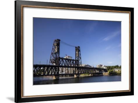 Oregon, Portland. Steel Bridge Spans the Willamette River-Brent Bergherm-Framed Art Print