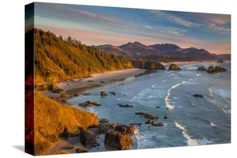 Sunset over the Coastline Near Cannon Beach, Oregon, USA-Brian Jannsen-Stretched Canvas Print