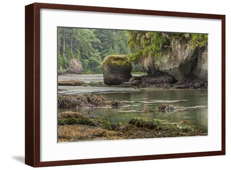 Crescent Beach Bay and Island, Low Tide, Olympic Peninsula, Washington-Michael Qualls-Framed Art Print