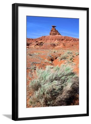 Mexican Hat Rock in the San Juan River Valley, on Highway 261, Utah-Richard Wright-Framed Art Print