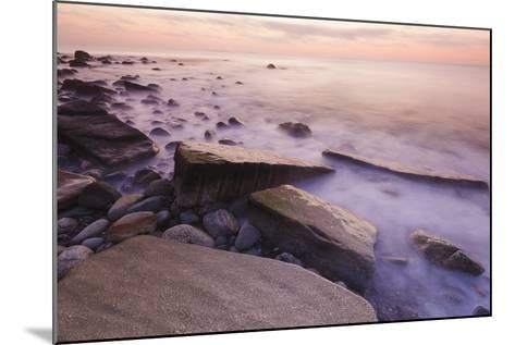 Waves Wash over the Rocks at Rye Harbor SP in Rye, New Hampshire-Jerry & Marcy Monkman-Mounted Photographic Print