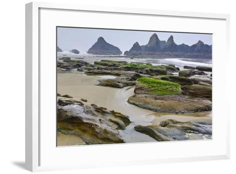 USA, Oregon, Seal Rock State Park. Rocky Beach at Low Tide-Jean Carter-Framed Art Print