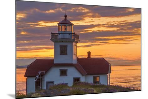 Washington, San Juan Islands. Patos Lighthouse and Camas at Sunset-Don Paulson-Mounted Photographic Print